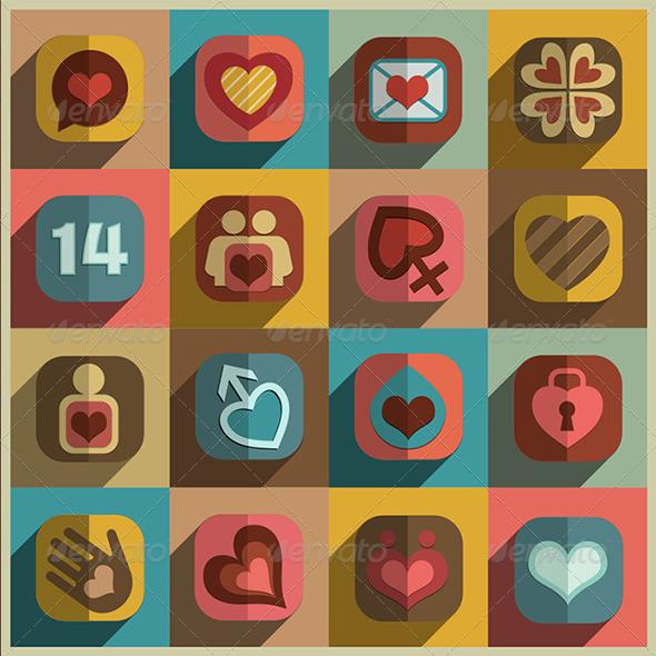 Flat Heart Decorative Icons Set - Decorative Symbols Decorative