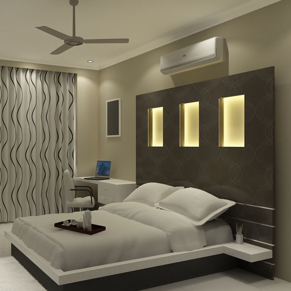 Realistic  Bedroom interior 3d - 3DOcean Item for Sale
