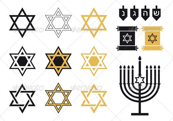 Jewish Stars, Religious Icon Set, Vector - Religion Conceptual