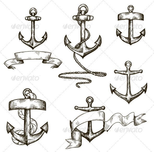 Set of Hand Drawn Anchors and Ribbons - Man-made Objects Objects
