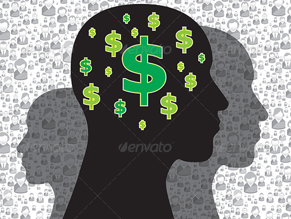 Human Head with Money Symbol - Concepts Business