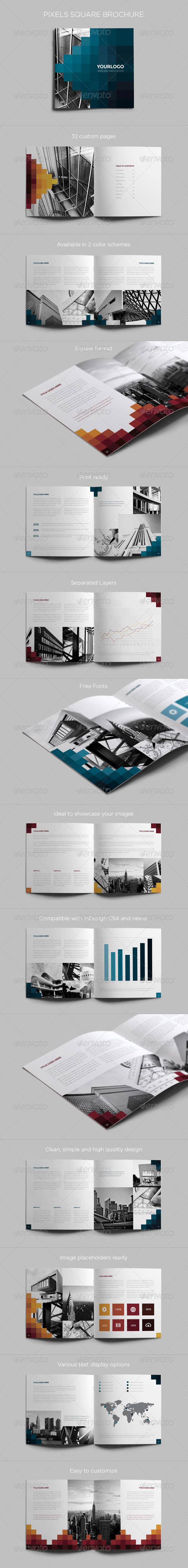 Pixels Square Brochure - Brochures Print Templates