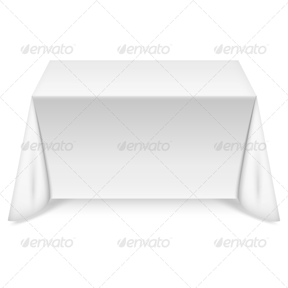 Rectangular Table with White Tablecloth - Man-made Objects Objects