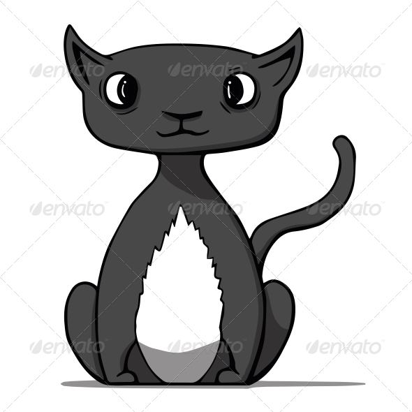 Cartoon Black Cat - Animals Characters