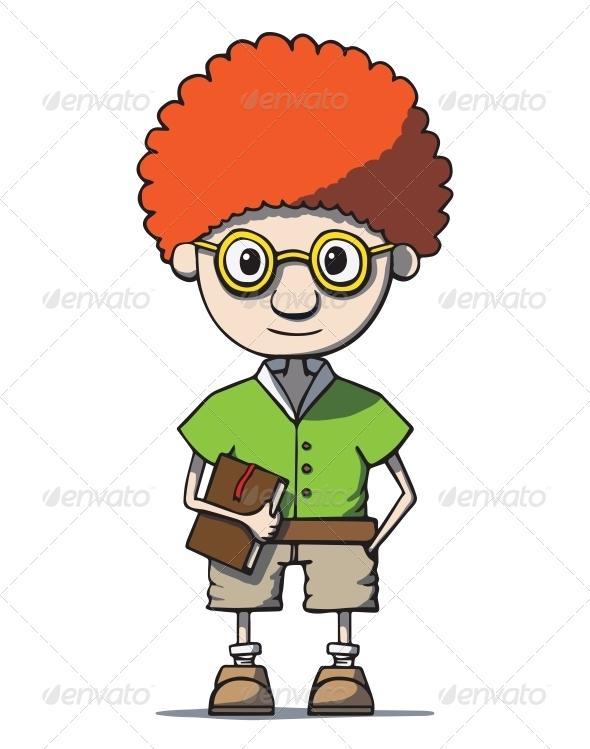 Cartoon Redhead Nerd Genius in Glasses - People Characters