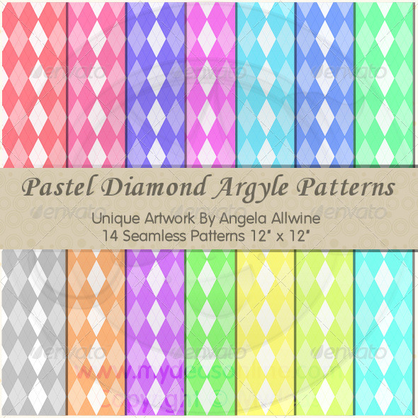 Pastel Diamond Argyle Pattern Set - Patterns Backgrounds