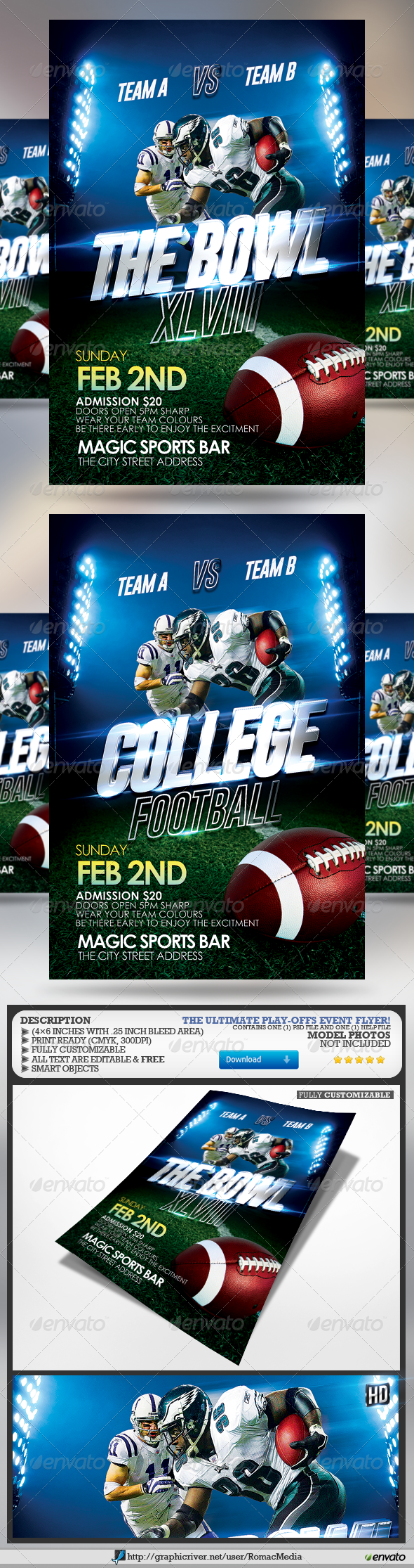 The Bowl and College Football Flyer - Sports Events