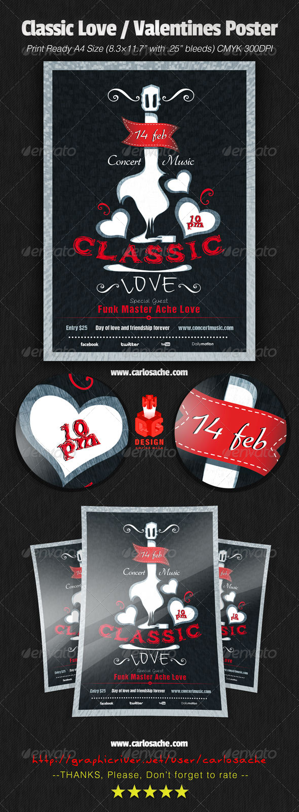 Classic Love / Valentines Poster - Concerts Events