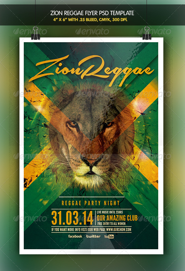 Zion Reggae | Reggae Party Flyer - Clubs & Parties Events