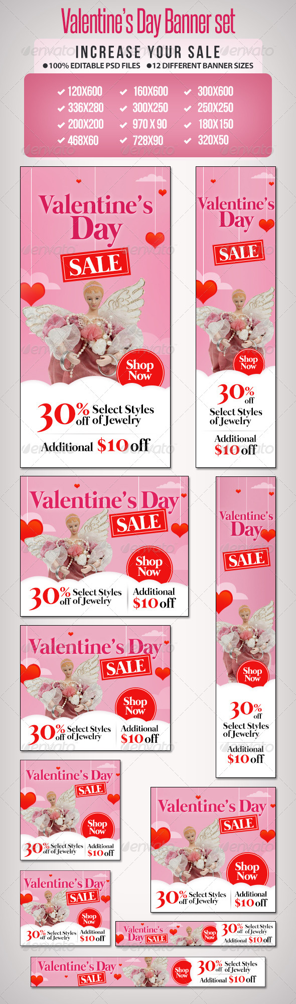 Valentines Day Sale Banner Set 2  - Banners & Ads Web Elements