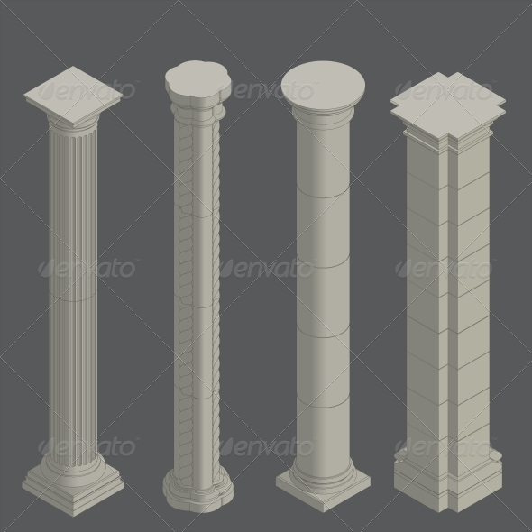Isometric Classical Columns - Buildings Objects