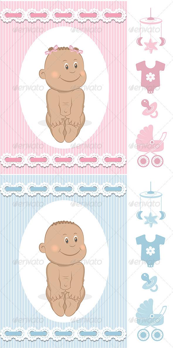 African Babies Set - Characters Vectors