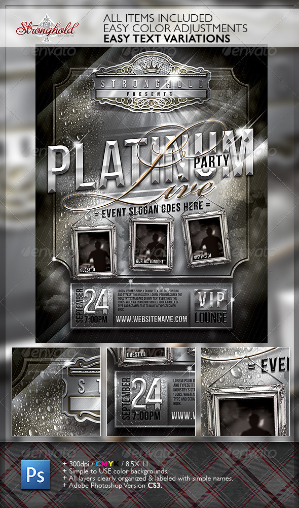 Platinum Live Party Flyer Template - Print Templates