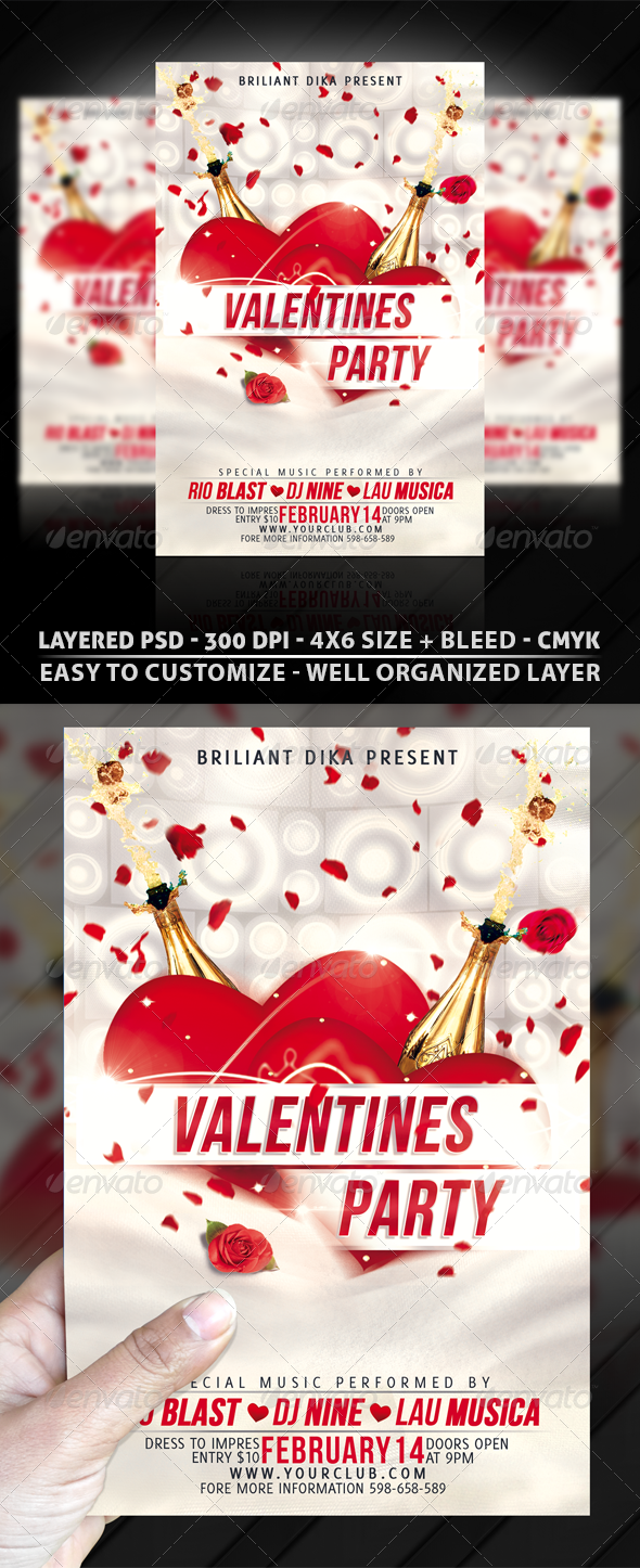 Minimal Valentines Party Flyer Template - Clubs & Parties Events