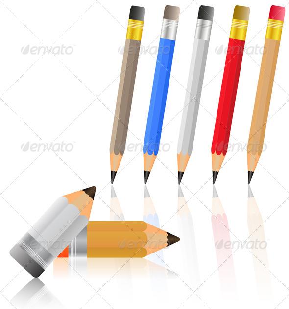 Colored Pencils - Objects Vectors
