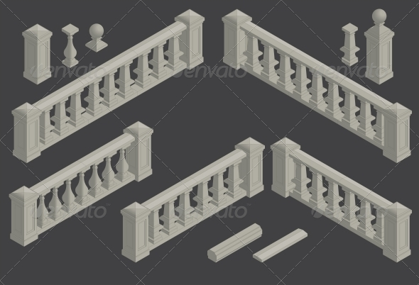 Set of Architectural Element Balustrade - Buildings Objects