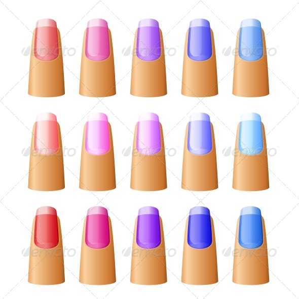 Nail Polish in Different Hues - Health/Medicine Conceptual