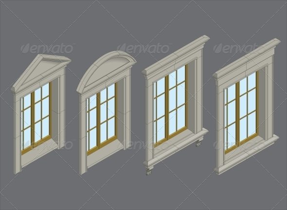 Isomentic Windows Set - Buildings Objects