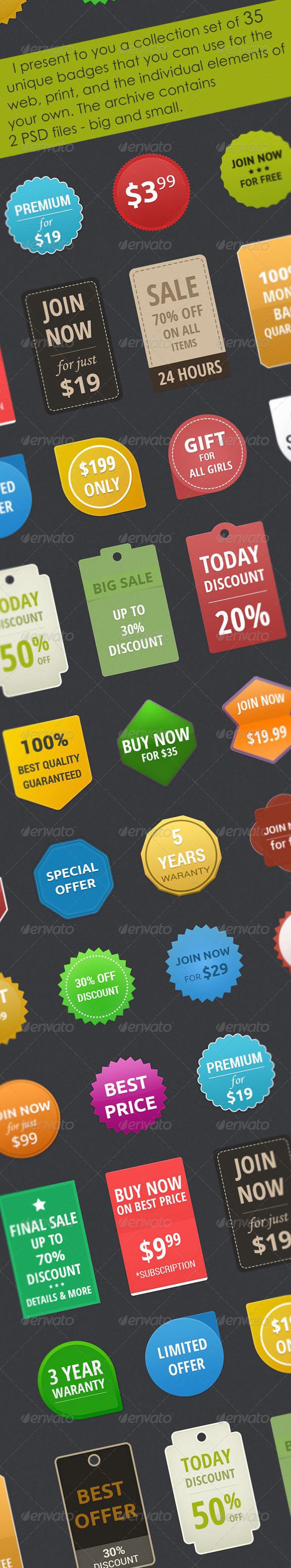 Collection set of 35 unique badges - Badges & Stickers Web Elements