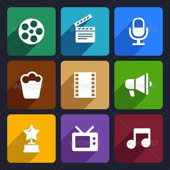 Movie Flat Icons Set 37 - Media Icons