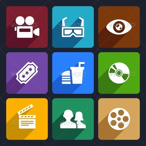 Movie Flat Icons Set 38 - Media Icons