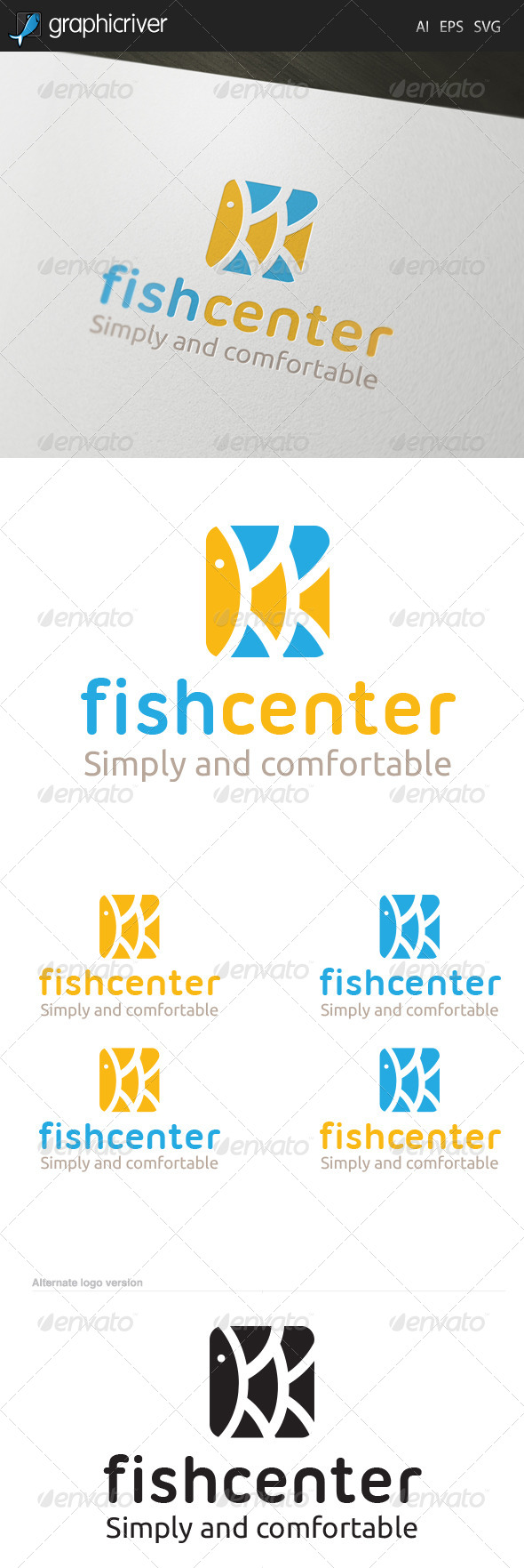 Fish Center Logo - Letters Logo Templates