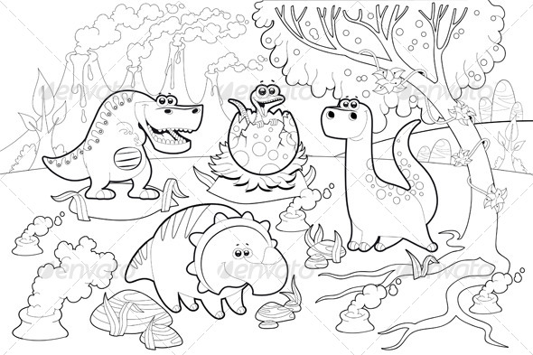 Dinosaurs in a Prehistoric  Landscape - Animals Characters