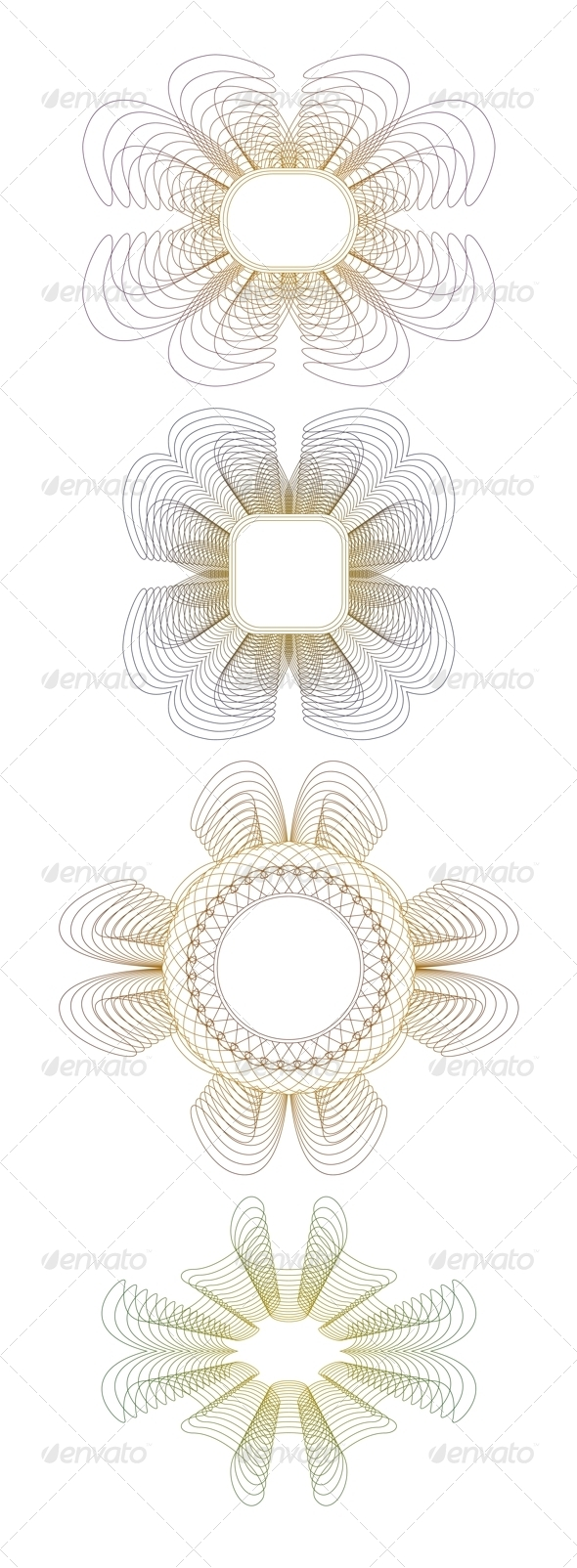 Collection of Guilloche Rosettes - Borders Decorative