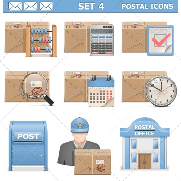 Vector Postal Icons Set 4 - Industries Business