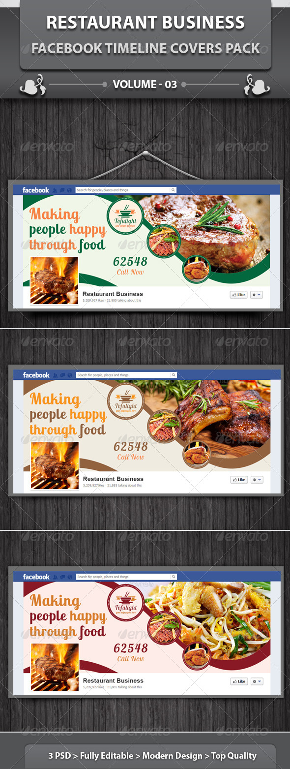 Restaurant Business FB Timeline | Volume 3 - Facebook Timeline Covers Social Media