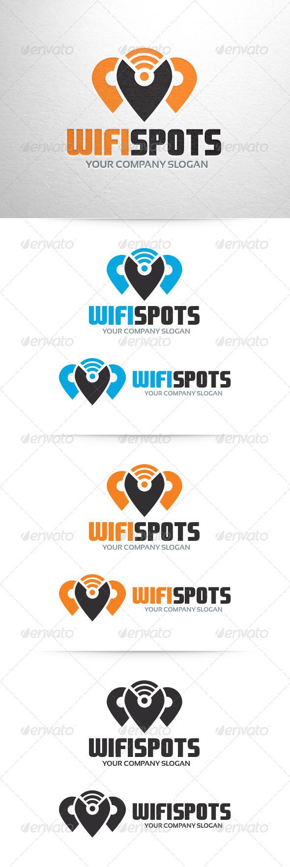 Wi-Fi Spots Logo Template - Symbols Logo Templates