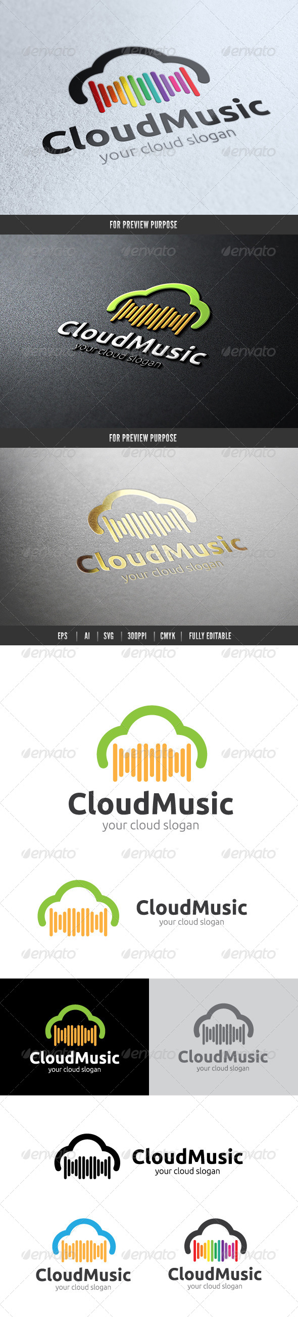 Cloud Music - Nature Logo Templates