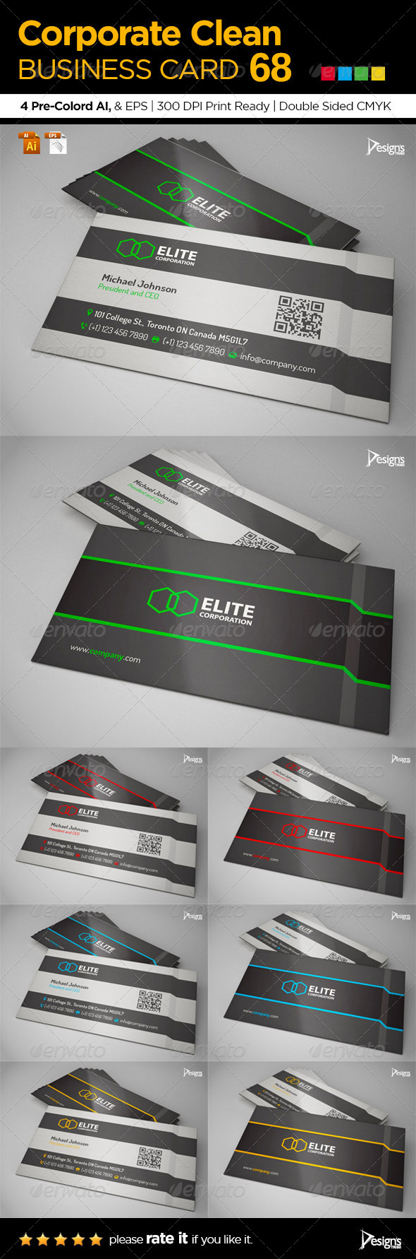 Corporate Clean Business Card 68 - Business Cards Print Templates