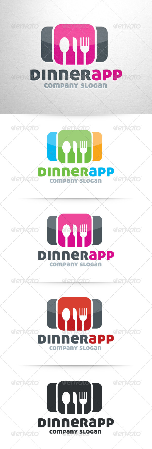 Dinner App Logo Template - Food Logo Templates