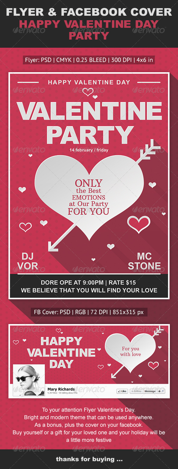 Happy Valentine Day Flyer & Facebook Cover - Events Flyers