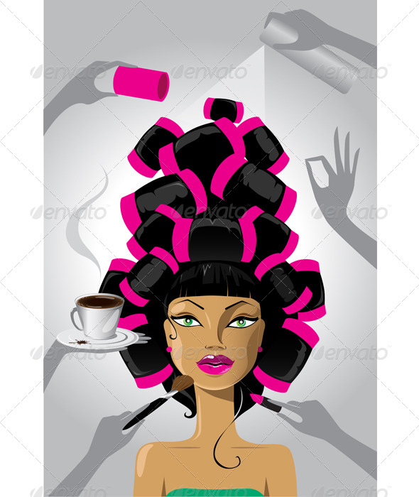 Woman in a Salon - People Characters