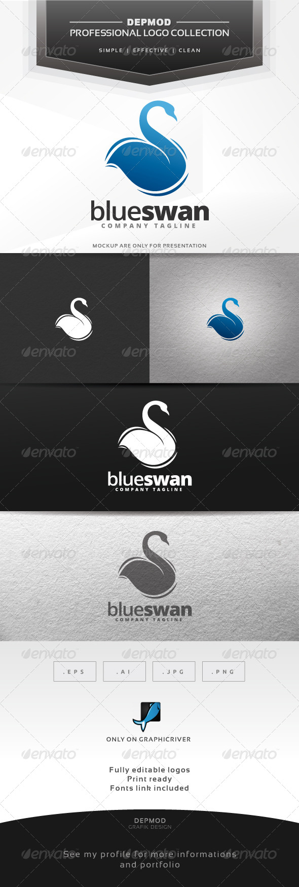 Blue Swan Logo - Animals Logo Templates