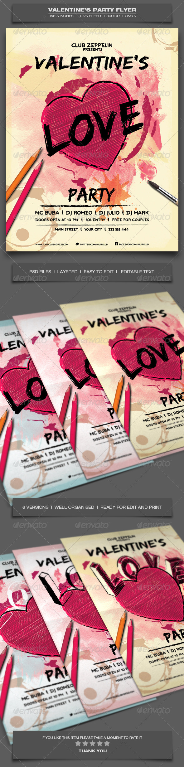 Valentine's Day Party - Event Flyer Template 9 - Holidays Events