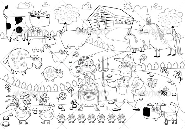 Farm Family in Black and White.  - Animals Characters