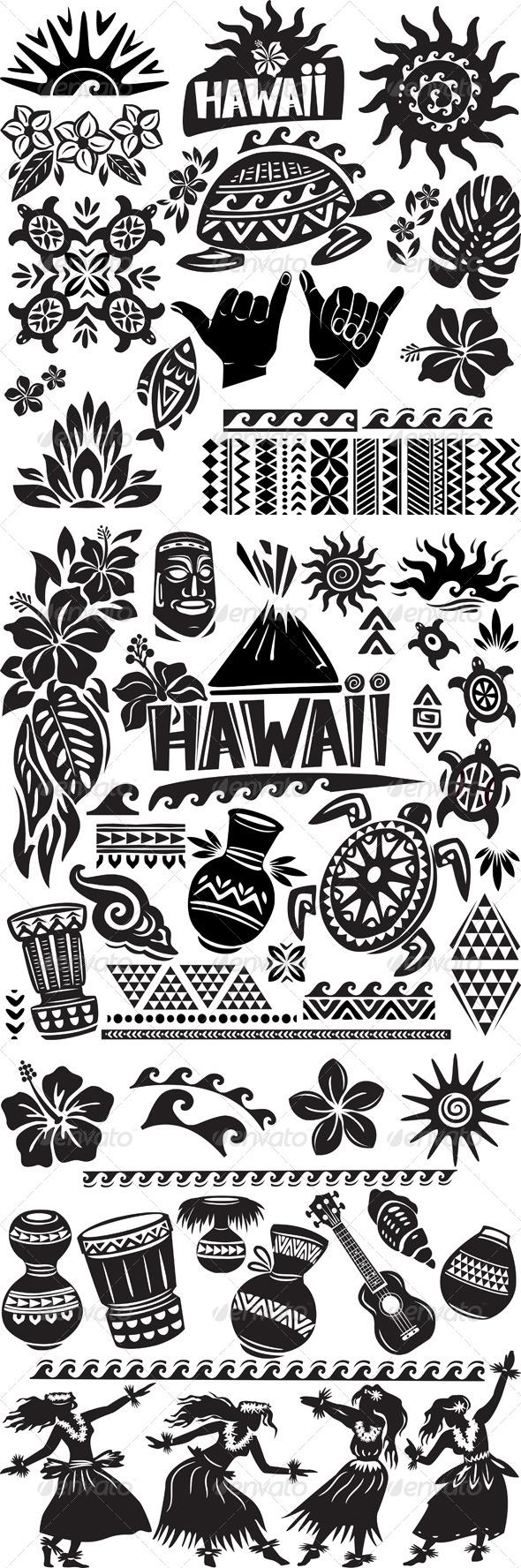 Hawaii Set in Black and White - Decorative Symbols Decorative