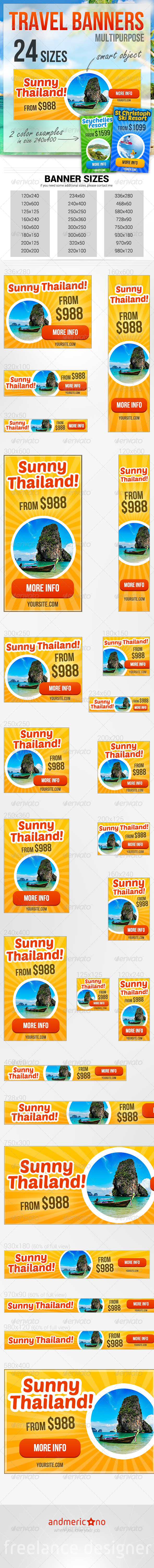 Travel & Holidays Banners - Banners & Ads Web Elements