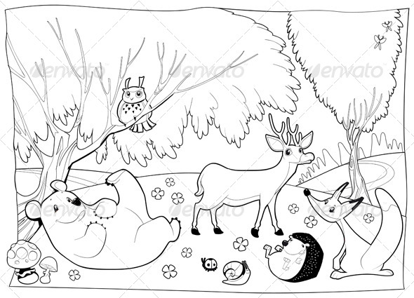 Animals in the Wood, Black and White.  - Animals Characters