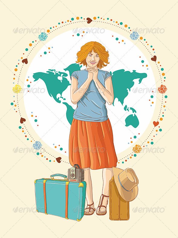 Young Traveler Girl with Baggage - People Characters