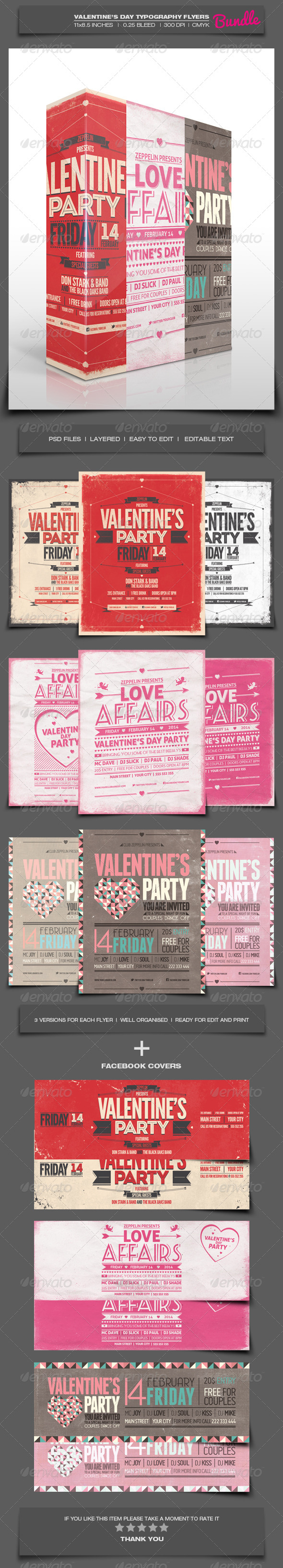 Valentine's Day Party Typography Flyers Bundle - Holidays Events