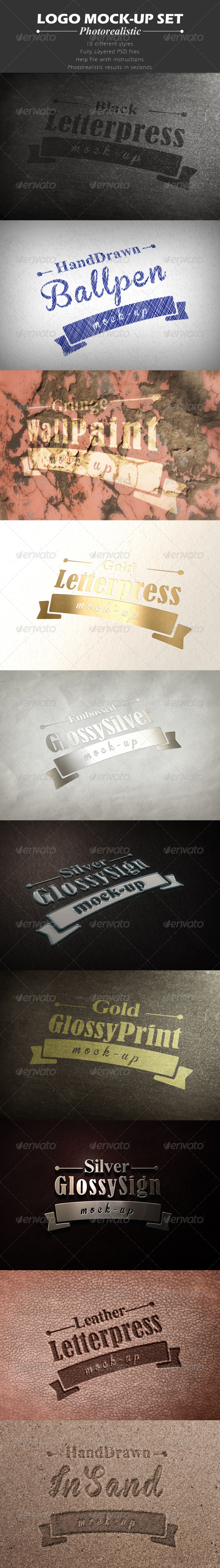 Set of 10 Logo Mock-ups - Logo Product Mock-Ups