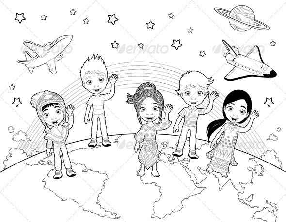 Children on the World in Black and White.  - People Characters