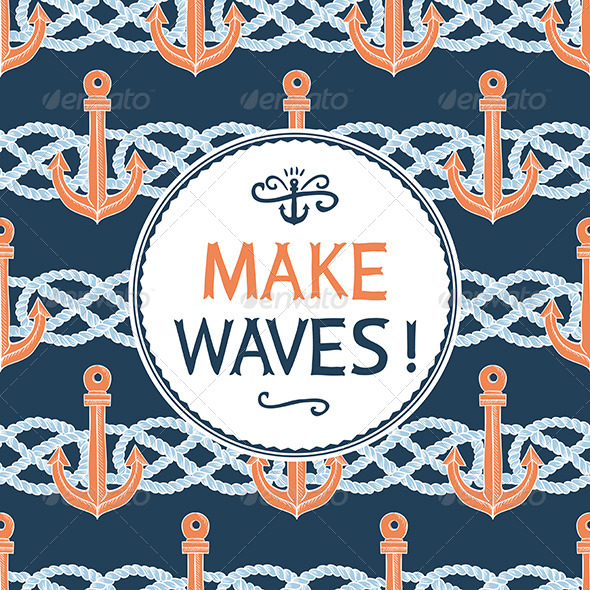Retro Anchors Symbol on Hipster Background - Patterns Decorative