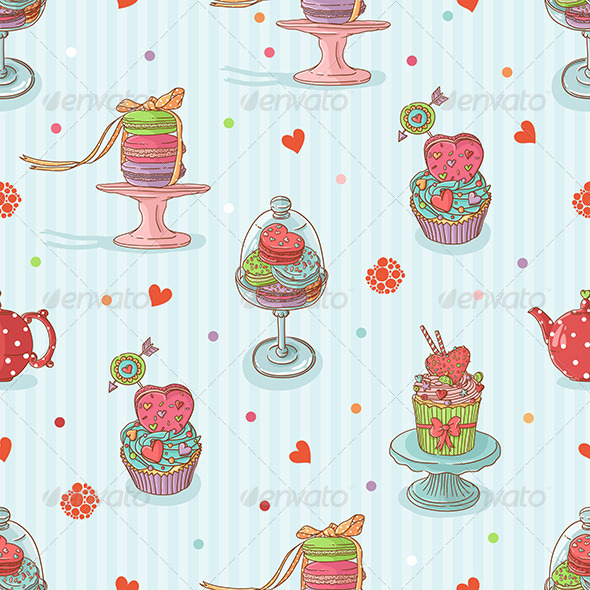 Seamless Pattern with Cake Illustrations - Patterns Decorative