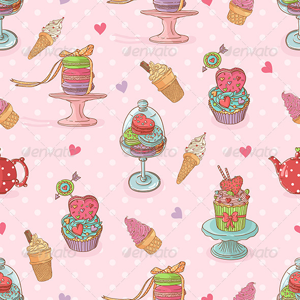 Seamless Pattern with  Cupcakes and Ice Cream - Patterns Decorative