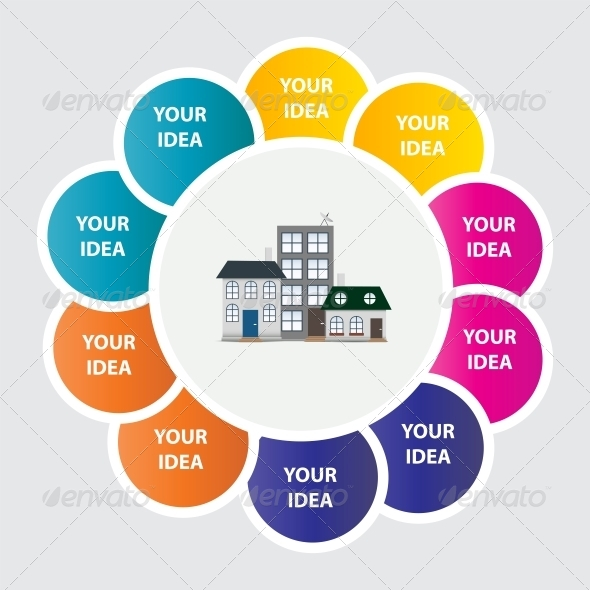 Town Infographic Template Business Concept Vector  - Web Technology